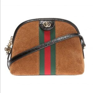 Gucci Ophidia Small Shoulder Bag in Chestnut Suede
